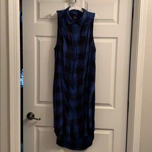Light flannel sleeveless long tunic